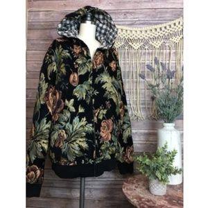 VINTAGE Black Floral Velvet Tapestry Hoodie Jacket